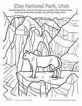 National Park Coloring Parks Zion Pages Worksheets Worksheet Sheets Adult Education Colouring Places Grade Activities Utah Printables Celebrate History Caverns sketch template