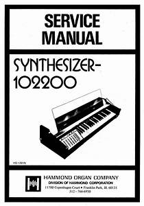 Hammond 102200 Synthesizer Service Manual Repair Schematic