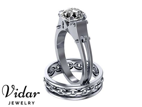 Platinum Handcuff Engagement Ring Set  Vidar Jewelry