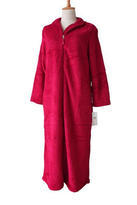 robe de chambre femme satin european style zipper coral velvet