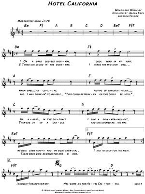 "The Eagles ""hotel California"" Sheet Music  Download & Print"