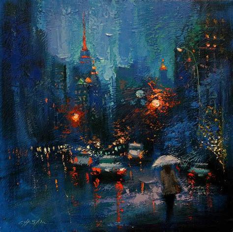 saatchi art blue rain   city painting  chin  shin