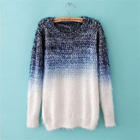ombre sweater cool womens sweaters jumpers feather yarn wool ombre