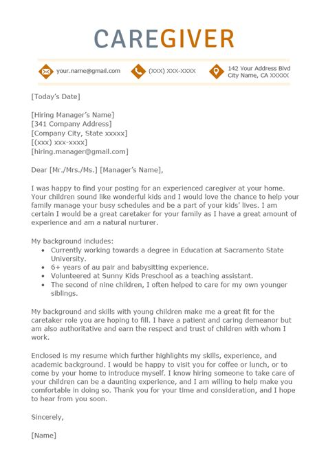 Caregiver Resume Template by Caregiver Cover Letter Sle Resume Genius