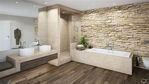 Tapeten Badezimmer Beispiele : nat rliche materialien wie holz und natursteine sowie auch warme farben erzeugen eine ~ Markanthonyermac.com Haus und Dekorationen