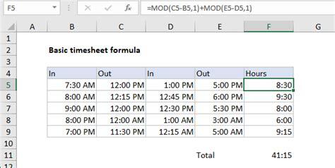 excel formula basic timesheet formula with breaks exceljet