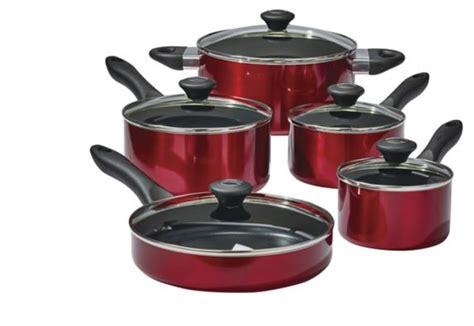lagostino ticino copper  stick cookware set red  pc canadian tire