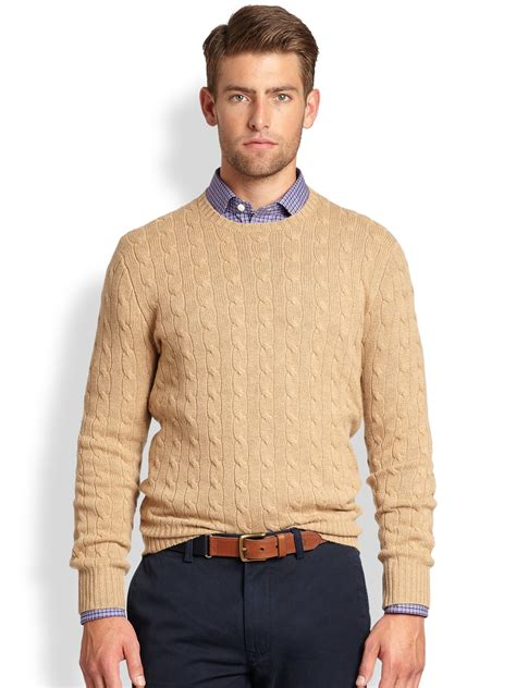 cable sweater mens polo ralph cable knit crewneck sweater in