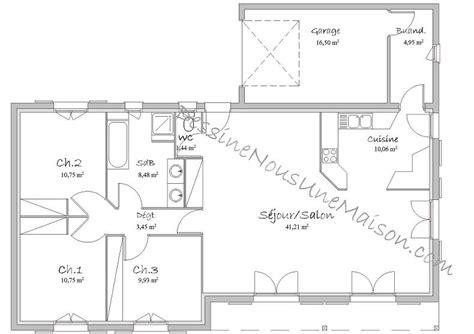 plan maison en l plain pied 3 chambres plans de maisons individuelles de plain pied