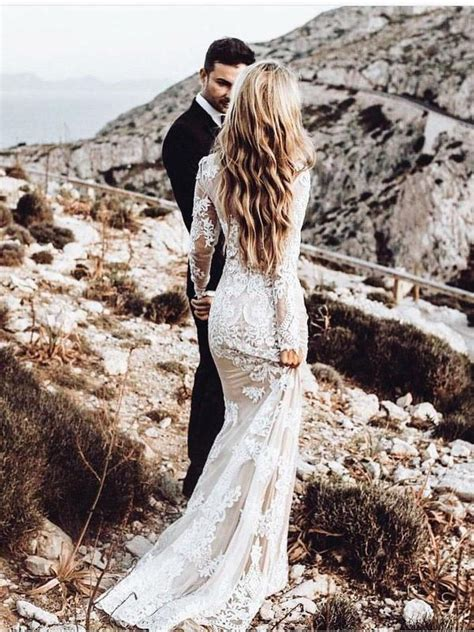 mermaid long sleeve lace tulle boho wedding dresses rustic