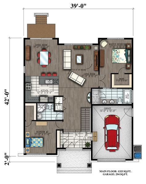 free modern house plans 2 bedrm 1325 sq ft bungalow house plan 158 1300