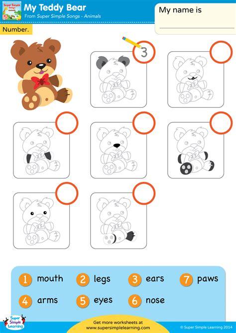teddy bear worksheet write  number super simple