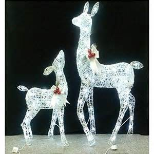set of 2 yard or lawn lighted white grapevine deer christmas decor functional outdoor holiday
