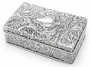 Ornate Antique Silver Plated Trinket Box C 1890   La71306
