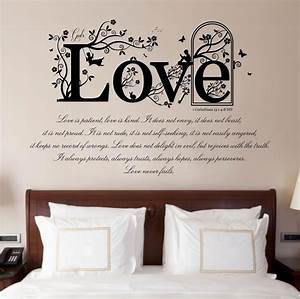 1 corinthians 13 v 4 8 bible quote vinyl wall art With the best of home depot wall decals