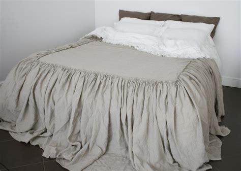 Linen Coverlet Dust Ruffle. Linen Bedspread, Look As Bed
