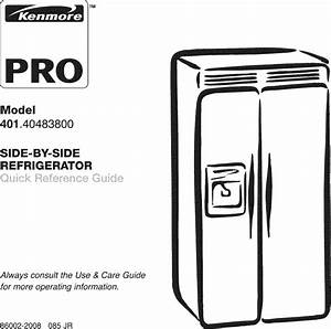 Kenmore Pro 40140483800 User Manual Refrigerator Manuals