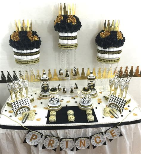 Black And Gold Baby Shower by Black And Gold Baby Shower Buffet Centerpiece With Baby