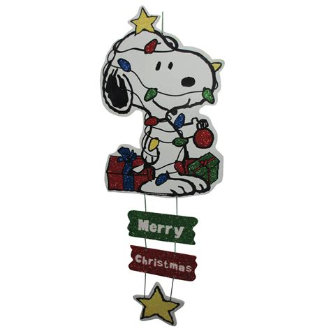 peanuts by schulz 20in snoopy wrapped in lights mdf wall