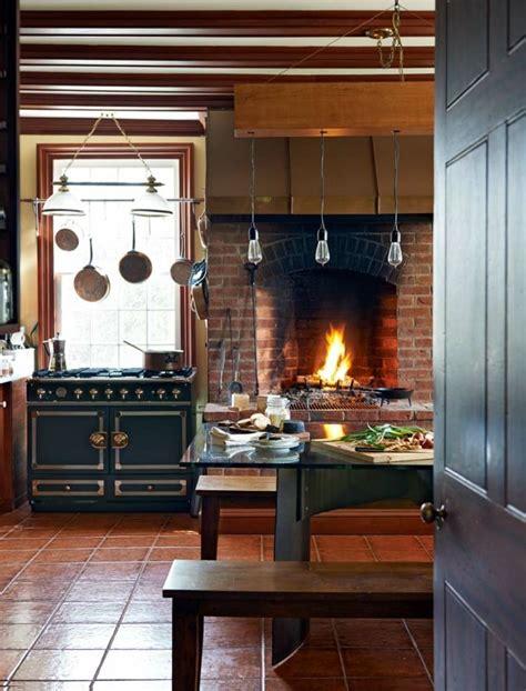 cocinas rusticas cocina  chimenea de ladrillo