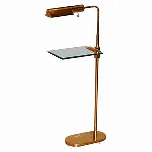 casella brass floor lamp with glass table top at 1stdibs With casella brass floor lamp