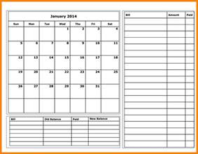 Invoice Template For Excel 11 Budget Calendar Template Monthly Bills Template