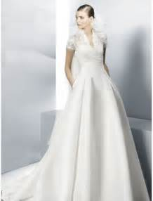a line wedding dresses with sleeves satin v neckline a line wedding dress with lace sleeves sang maestro