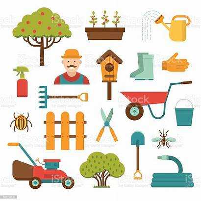 Tools Gardening Vector Background Garden Icons Clip
