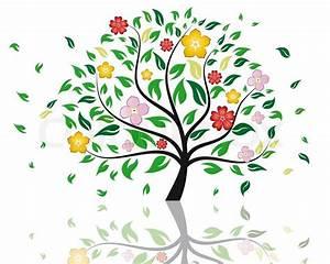 Baum Mit Blüten : sch ne sommer baum mit bl ten blumen vektorgrafik colourbox ~ Frokenaadalensverden.com Haus und Dekorationen