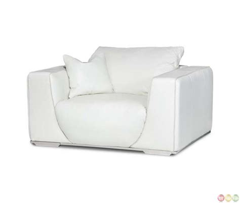 michael amini leather white modern chair and