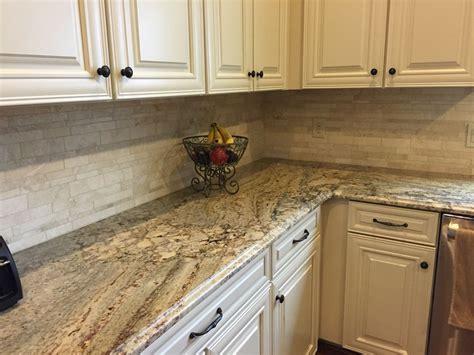 Backsplash To Go With Granite : My New Kitchen! Typhoon Bordeaux Granite With Travertine