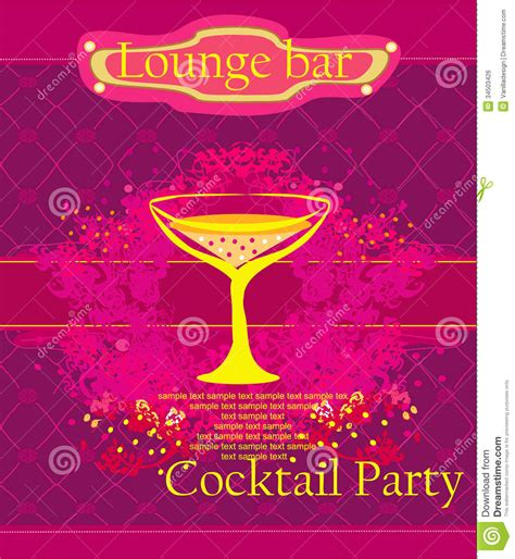 cocktail party invitation card royalty  stock image