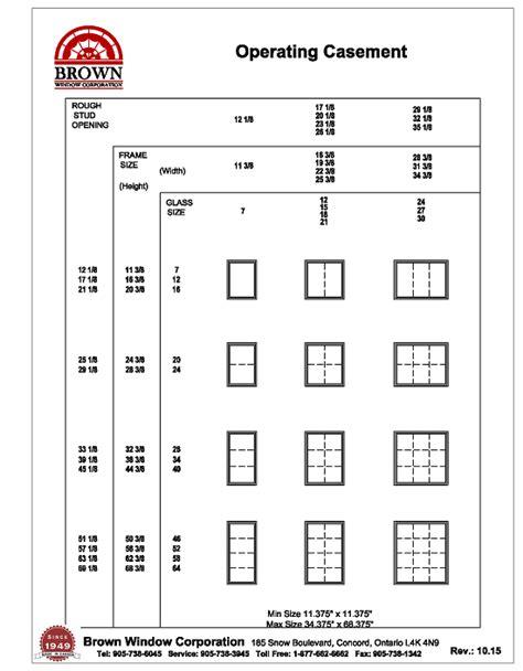 fixed casement window size chart  brown window corporation
