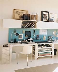 Ikea office 2 smaller desks surrounding storage unit in for Ikea home office storage