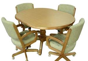 oak kitchen table and chairs with casters foto