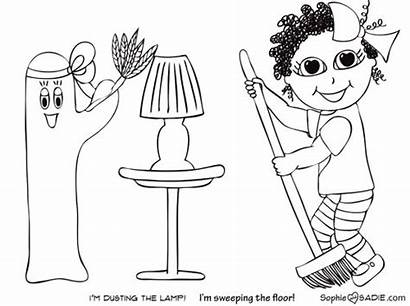Chores Coloring Sweeping Tags Sadie
