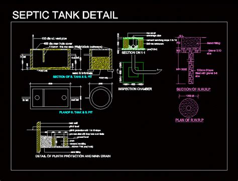 septic tank detail dwg detail  autocad designs cad