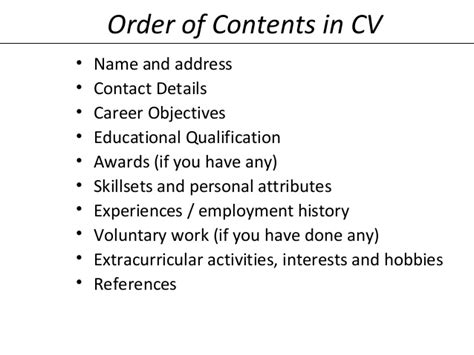 Contents Of Resume by Resume Writting