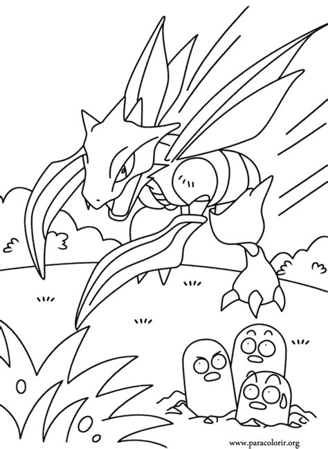 pokemon scyther  dugtrio coloring page
