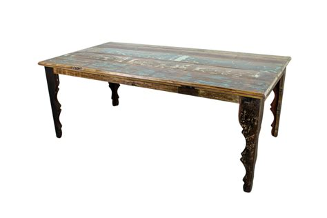 rustic distressed wood kitchen table with rectangle shape