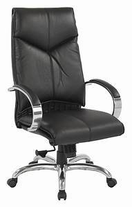 Top, Grain, Black, Leather, High, Back, Swivel, Chair, With, Chrome, Base