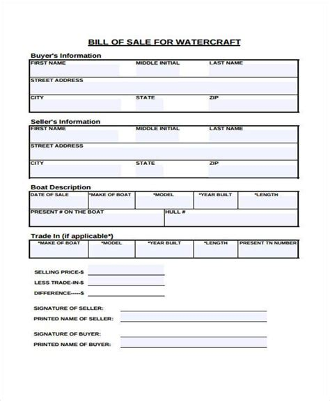 Printable Boat Bill Of Sale by 33 Bill Of Sale Forms In Pdf
