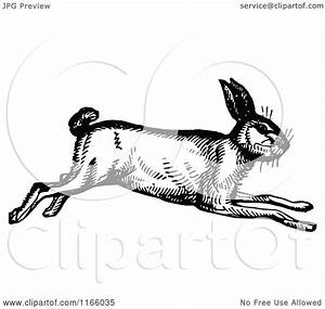 Clipart Of A Retro Vintage Black And White Running Rabbit