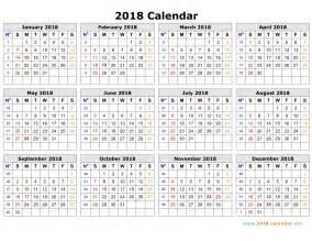 2018 Calendar with Week Numbers Printable