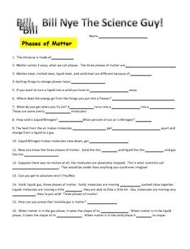 bill nye phases  matter video worksheet  science