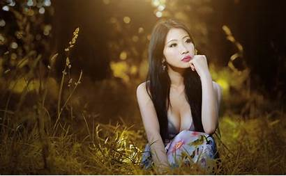 Asian Outdoors Photoshoot Desktop Cleavage Models Wallpapers