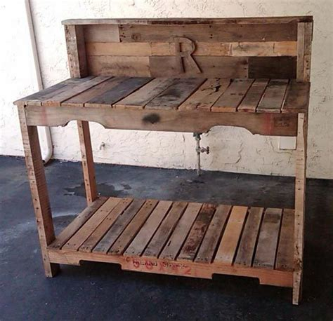 pallet potting bench pallets unpalletable or great recycled resource mise en place design