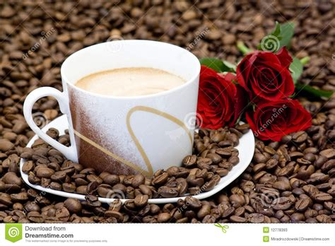 Cup Of Coffee And Red Roses Stock Image