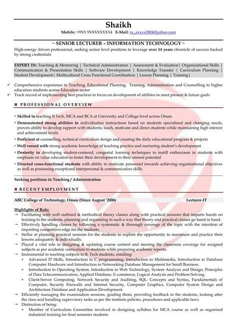 lecturer sle resumes resume format templates