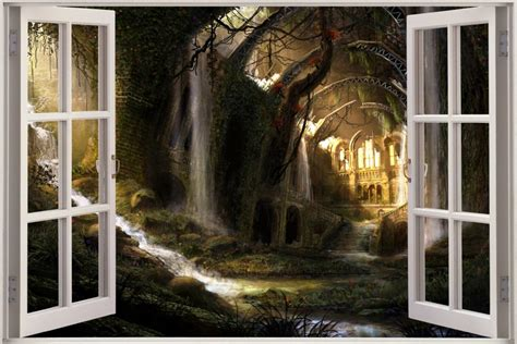 huge  window fantasy world ruins view wall sticker decal